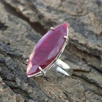 Large Marquise Kashmiri Ruby Gemstone Sterling Silver Ring Size 9.5 Jewelry