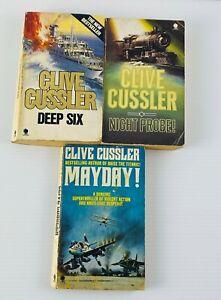3x Vintage Clive Cussler Novels Adventure Fiction Small Paperback Books