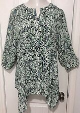 Rose + Olive Womens Plus Size 1X 3/4 Sleeve Polyester Top Asymmetrical Sharkbite