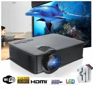 Projector Wifi Wireless Android 1080p Full HD HDMI USB VGA Compatible 1200 Lmn