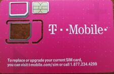 TMobile TRIPLE CUT SIM 4G LTE. Unactivate, Replacement Sim. Samsung S7/S8 UP