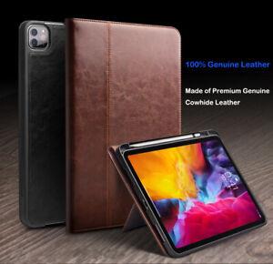 QIALINO Genuine Leather Case Flip Smart Cover Pen Holder f iPad Pro 11/12.9 2021
