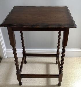Oak Barley Twist Side Table / Lamp Table