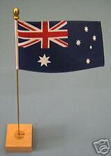 "Table Flags - satinette  -  Australia 6"" x 3"" satinette flag,  gilt mast & base"