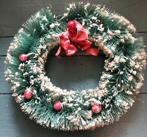 "Vintage 12"" Bottle Brush Green Wreath w Snow & Red Mercury Ornament Balls"