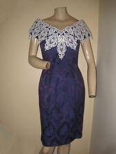 New listing Vintage 80s McClintock Navy Blue Crochet Collar Floral Brocade Formal Dress Xs/S