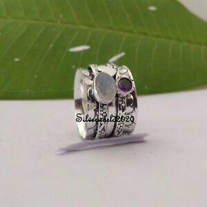 Amethyst Ring Spinner Ring 925 Sterling Silver Plated Handmade Ring Size 8 vi314