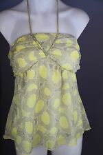 bebe sydney yellow womens babydoll top shirt size 12