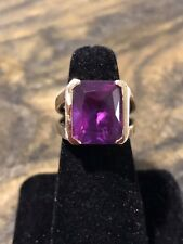 Stunning Vintage Emerald Cut Pink Ruby In 925 Sterling Silver