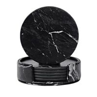 Coasters for Drinks 6-Piece with Holder,Marble Black Round Cup Mat Pad Set C8E2