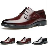 Men's Shiny Lace up Leather British Flats Pumps Chic Dress Formal Business Shoes