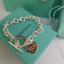 Tiffany & Co. 925 Sterling Silver Heart Tag Charm Chain Bracelet Size 7.5""