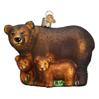"""Bear with Cubs"" (12199)X Old World Christmas Glass Ornament w/OWC Box"