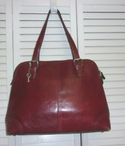 Fossil Red Wine Red Leather Padded Tote Shoulder Bag Laptop Carry All Handbag