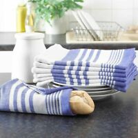Blue Stripe 100% Cotton Terry Tea Towels High Quality Pack Of 10