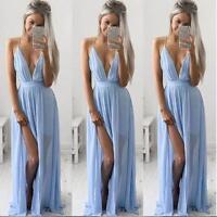 Boho Sexy Women Sleeveless Long V-Neck Chiffon Maxi Evening Party Beach Dresses