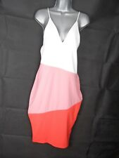 White Blush Red Plunge Striped Bodycon Dress Midi Size 14, Asymmetrical Stripes