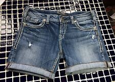 DESIGNER WOMAN'S SILVER JEAN SHORTS PROFESSIONALLY MADE W16 EUC 30 AIKO NICE