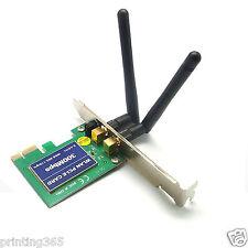 300 Mbps Wireless WiFi PCI-E Network adaptador LAN mapa + Antenna PC de escritorio