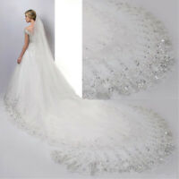 4M White / Lvory Luxury 1T Cathedral Wedding Lace Sequins Long Veil With ❤