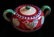 More details for vintage amalfi pink galina italian lidded sugar bowl red green chicken design