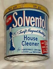 VINTAGE SOLVENTOL CAN HOUSEHOLD CLEANER TIN SOLVENTOL CHEMICAL PRODUCTS DETROIT