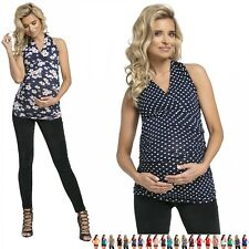 Zeta Ville - Women's - Maternity Top - Halter Neck - Stretchy Sleeveless - 167c