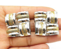 925 Sterling Silver - Shiny Two Tone Textured Square Stud Earrings - E5875