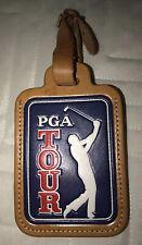 PGA Tour Golf Leather Luggage Tag. Name/ID Holder. EUC