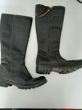 Timberland Biker Rider Strap Knee High Boots Black Leather Size 6
