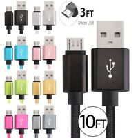 10FT Micro USB FAST Charger Data Sync Cable Braided Cord for Samsung Android LG