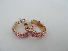 Joan Rivers signed vintage 90's pink rhinestone pierced earrings gold tone hoops