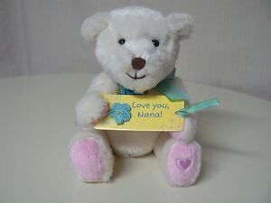 Hallmark LOVE YOU NANA White Plush Bear with Sign Pink Feet Heart NEW #1MAE4030