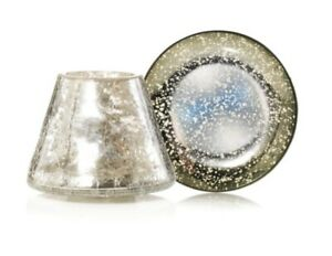Yankee Candle Kensington Mercury On Crackle Glass Shade And Tray