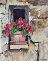 Flowers Window Impasto Impressionism Original OIL PAINTING by IDKOWIAK