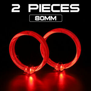 """2x Red 2.5"""" LED Light Guide Angel Eyes Halo Rings DRL for Car Headlight Retrofit"""
