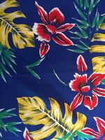 """VTG MCM Orchid Palm Floral Hawaiian Cotton Fabric 45"""" W 1 Yd Blue Yellow G4"""