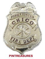 Fire Department Pins Vintage Historic Lapel Chico, CA Firefighter Badge Pin(@!@)