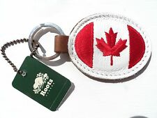 ROOTS CANADA Leather Oval KEYRING key chain maple leaf flag