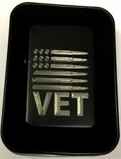 USA American Flag Bullets Gun VET Military Black Engraved Lighter LEN-0227