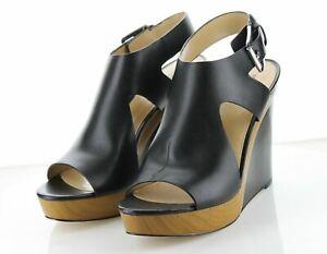 18-59 $130 Women's Sz 10 M Michael Kors Josephine Leather Wedge Sandal - Black