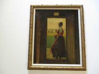 ANTIQUE OIL PAINTING CHRISTIAN DALSGAARD PORTYRAIT PRETTY WOMAN LANDSCAPE 1910'S