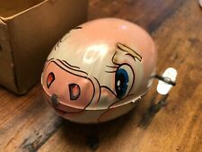 1960's Vintage YONE Mechanical Wind Up-Tin Litho SCURRY PIG Works Japan 🇯🇵