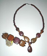 NATURAL ARTS EXOTIC WOOD - NECKLACE & BRACELET SET – ONE SIZE FITS MOST –NWT $22