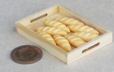 1:12 Scale 8 Loose Small Loaves In A Wooden Tray Dolls House Bakery Accessory
