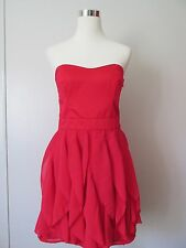 French Connection Hot Techno Pink Strapless Ruffled Skirt  Dress NWT $178  SZ: 8