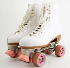 CHICAGO White Leather Roller Skates QUAD SKATES Chicago Plates Wheels WOMEN'S 10