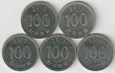 .5 DIFFERENT 100 WON COINS from SOUTH KOREA (2010, 2011, 2012, 2013 & 2014)