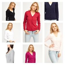 Women V Neck Long Sleeve Ladies Fine soft Knit Button work Blouse Cardigan Tops