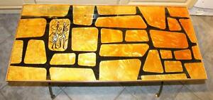 FAB! Vintage 1960s Denmor of London Glass Metal & Gold Foil Coffee Table Deliver